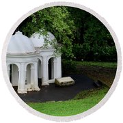 Two Meditating Cupolas In Fort Canning Park Singapore Round Beach Towel