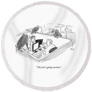 Two Men In A Small Cubicle Speak To Each Other Round Beach Towel by Carolita Johnson
