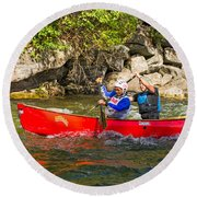 Two Men In A Tandem Canoe Round Beach Towel