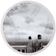 Two Monks Round Beach Towel