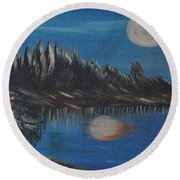 Two Moons That Meet In The Night Round Beach Towel