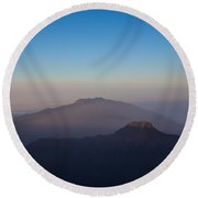Two Mountains In The Morning Round Beach Towel