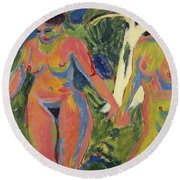 Two Nude Women In A Wood Round Beach Towel