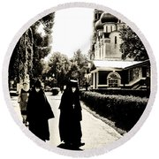 Two Nuns - Sepia - Novodevichy Convent - Russia Round Beach Towel