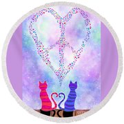 Two Of Hearts Round Beach Towel