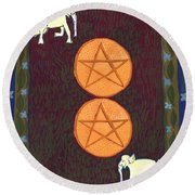 Two Of Pentacles Round Beach Towel