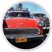 Two Old American Cars Round Beach Towel