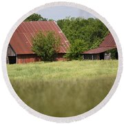 Two Old Barns Round Beach Towel