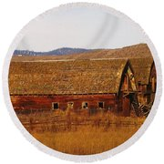 Two Old Barns Near Thorp  Wa Round Beach Towel
