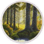 Two Old Spruce Round Beach Towel