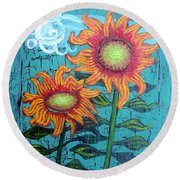 Two Orange Sunflowers Round Beach Towel