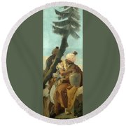 Two Orientals Seated Under A Tree Round Beach Towel