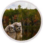Two Owlets At A Lakeshore Round Beach Towel