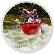 Two Paddlers In A Whitewater Canoe Making A Turn Round Beach Towel