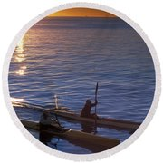 Two Paddlers In Sea Kayaks At Sunrise Round Beach Towel