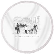 Two Parents Carrying Their Baby On A King's Round Beach Towel by Julia Suits