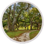 Two Paths Diverged In A Live Oak Wood...  Round Beach Towel