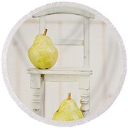 Two Pears And A Chair Still Life Round Beach Towel