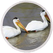 Two Pelicans Round Beach Towel