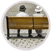 Two People Seated On A Bench Round Beach Towel