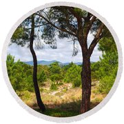 Two Pine Trees Round Beach Towel by Carlos Caetano