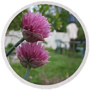 Two Pink Chives Round Beach Towel