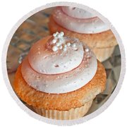 Two Pink Cupcakes Art Prints Round Beach Towel