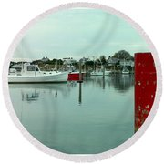 Two Poles Round Beach Towel by Kathy Barney