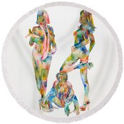 Two Psychedelic Girls With Chimp And Banana Portrait Round Beach Towel