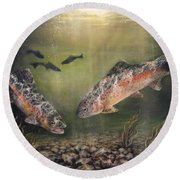 Two Rainbow Trout Round Beach Towel