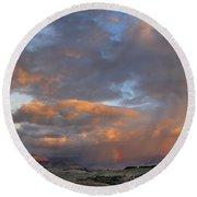 Two Rainbows In Sierra Nevada Round Beach Towel