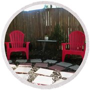 Two Red Chairs Round Beach Towel