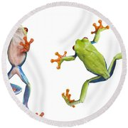 Two Red Eyed Tree Frogs Round Beach Towel