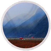 Two Red Farm Buildings Round Beach Towel