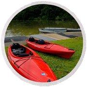Two Red Kayaks Round Beach Towel
