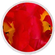 Two Red Tulips Round Beach Towel