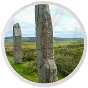 Two Ring Of Brodgar Stones Round Beach Towel