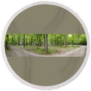 Two Roads Diverged Letchworth State Park Panorama Round Beach Towel
