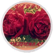 Two Roses. Happy Anniversary Round Beach Towel