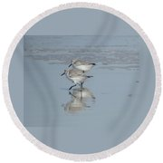 Two Running Sandpipers Round Beach Towel