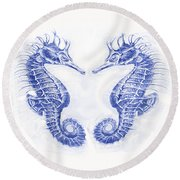 Two Seahorses- Blue Round Beach Towel
