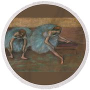 Two Seated Dancers Round Beach Towel
