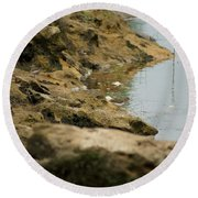 Two Spotted Sandpipers On The Flint Rivers Banks Round Beach Towel