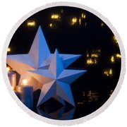 Two Stars In Front Of Dark Background Round Beach Towel