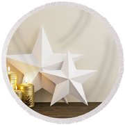 Two Stars With Golden Candles Round Beach Towel