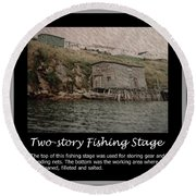 Two-story Fishing Stage Round Beach Towel