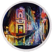 Two Streets - Palette Knife Oil Painting On Canvas By Leonid Afremov Round Beach Towel