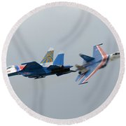 Two Sukhoi Su-27 Flanker Of The Russian Round Beach Towel