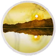 Two Suns Round Beach Towel