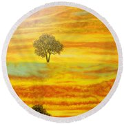 Two Sunsets In Limassol Round Beach Towel